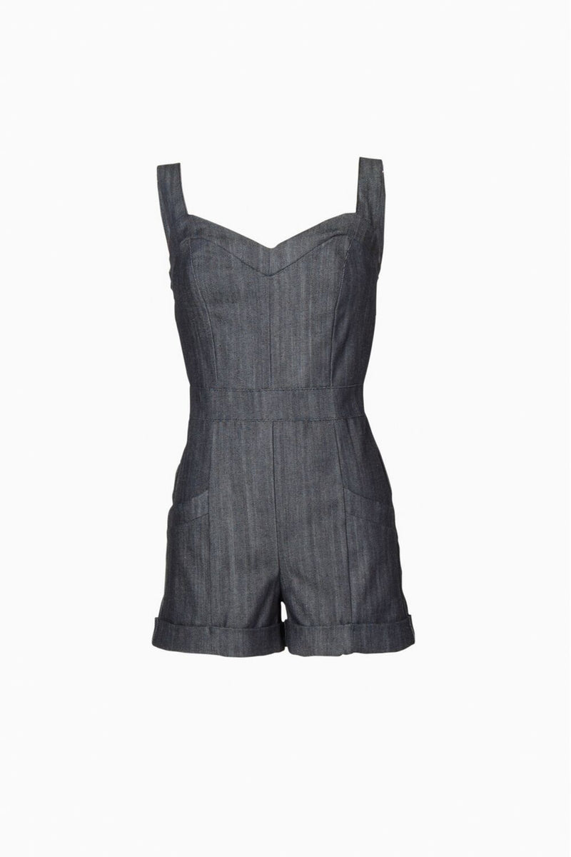 Laura Byrnes Daphne Short Overalls in Dark Blue Denim