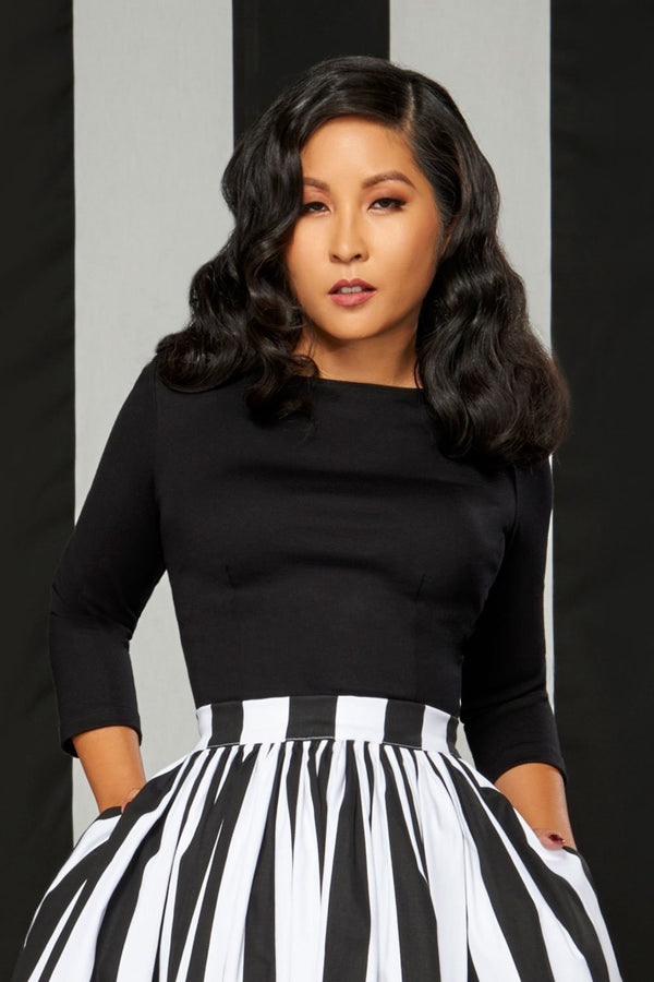 Laura Byrnes Sabrina Top in Black Double Brushed Ponte