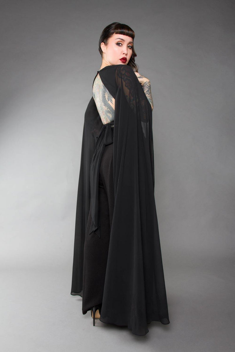 Gothic Glamour Crop Top In Black With Floor Length Sheer Cape Sleeves