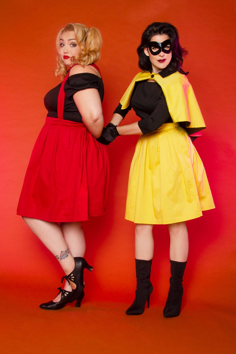 Magically Made for Couture for Every Body Joanne Jumper Skirt with Removable Straps in Yellow Cotton Sateen