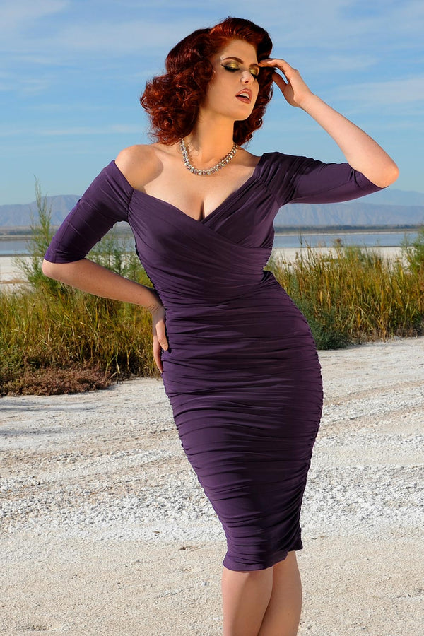 Laura Byrnes California Monica Wiggle Dress in Dark Purple