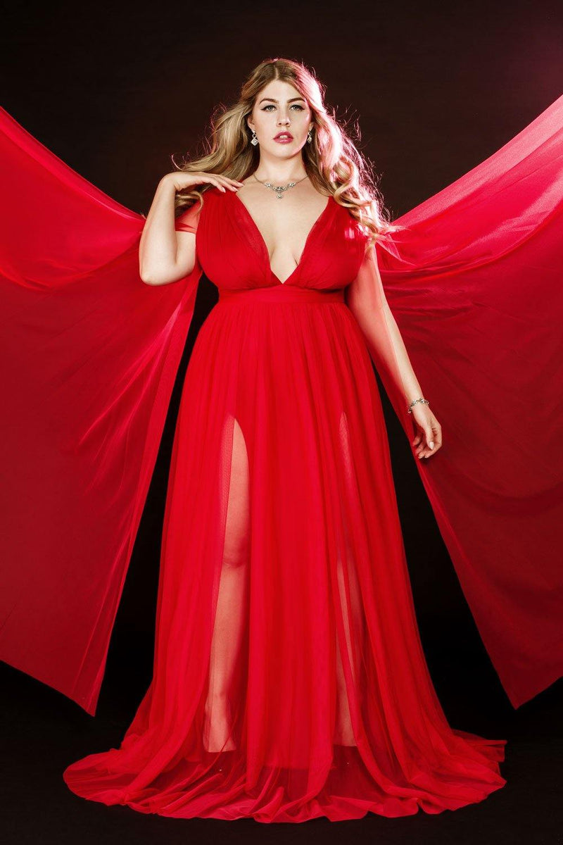Breezy Bombshell Gown in Red with Floor Length Sheer Cape Sleeves