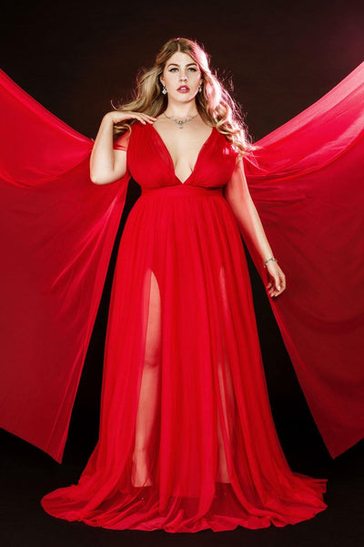 b5cf1e2103f9 Pinup Girl Clothing | Gothic Glamour Redrum Maxi Gown in Red with Floor  Length Sheer Sleeves – pinupgirlclothing.com