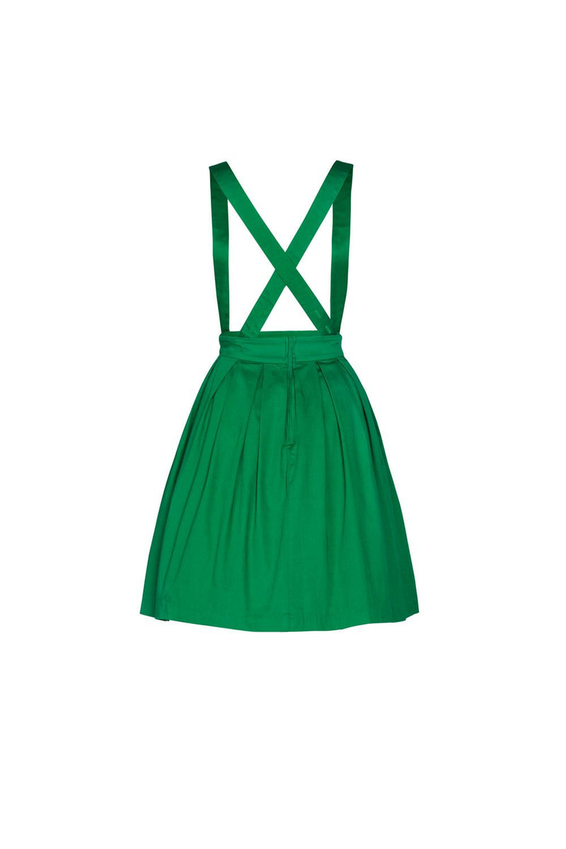 Final Sale - Magically Made for Couture for Every Body Joanne Jumper Skirt with Removable Straps in Green Cotton Sateen