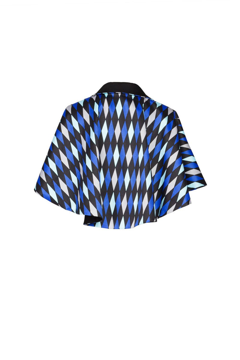 Magically Made for Couture for Every Body Celestina Reversible Capelet in Black and Blue House Harlequin