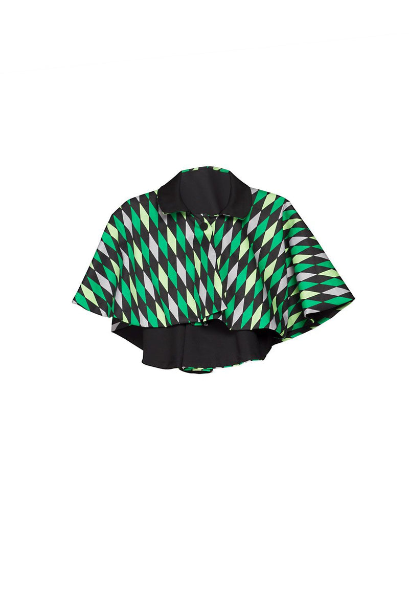 Magically Made for Couture for Every Body Celestina Reversible Capelet in Black and Green House Harlequin