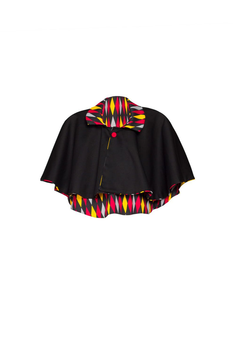 Magically Made for Couture for Every Body Celestina Reversible Capelet in Black and Red House Harlequin