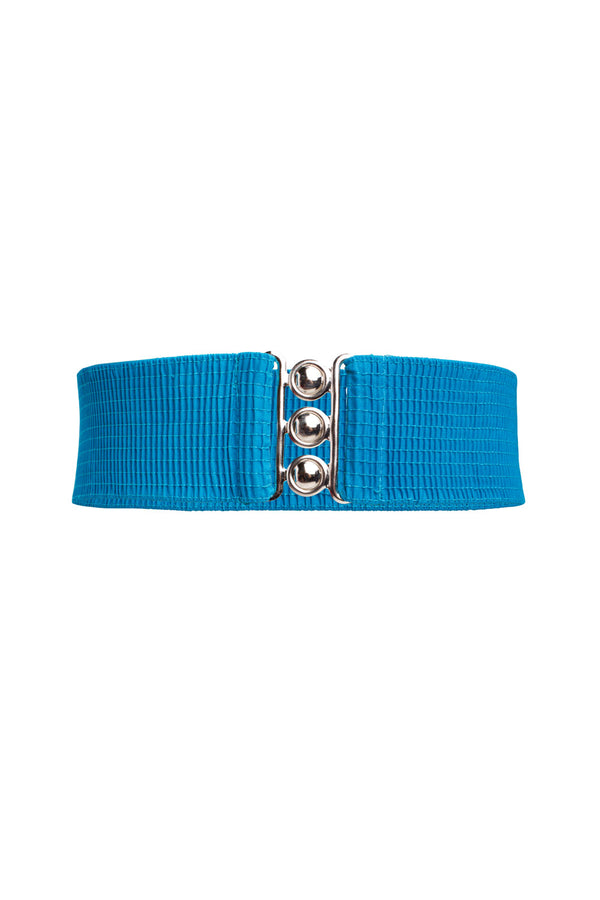 Lock It In Vintage Inspired Stretch Belt in Peacock Blue
