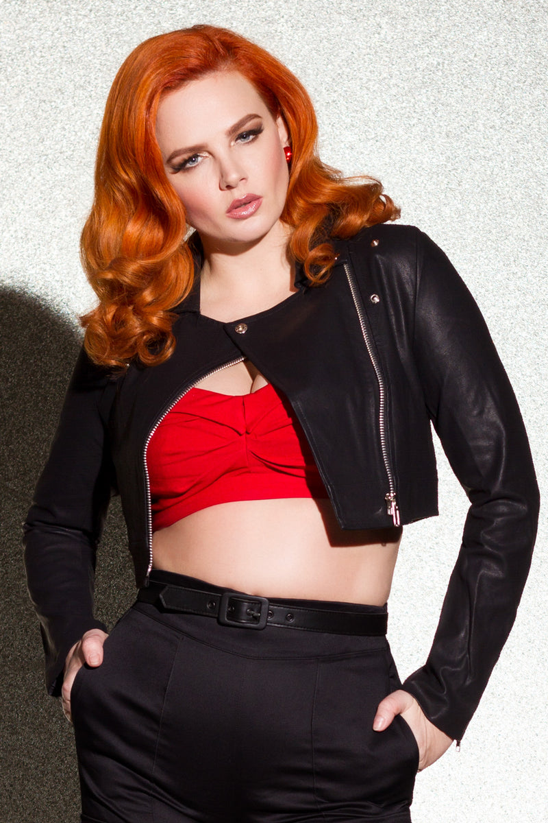 Allison Crop Top in Red Bengaline by Traci Lords