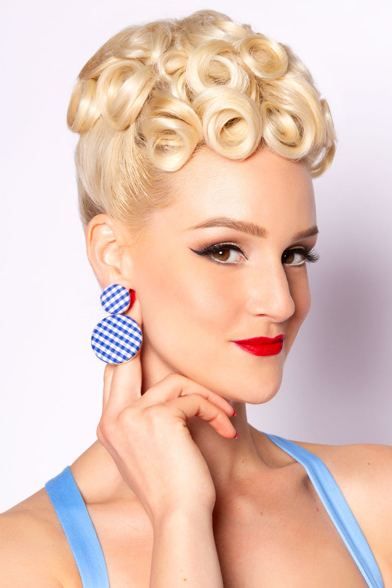 Rondure Gingham Earring in Navy and White