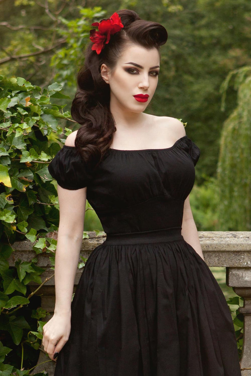 Pinup Couture Gathered Peasant Top in Black Stretch Sateen