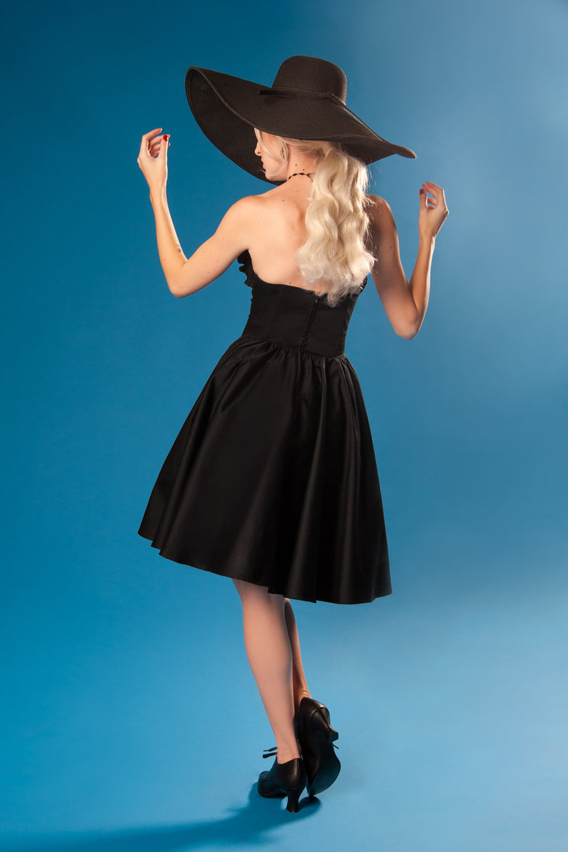 Pinup Couture Bela Dress in Black Cotton Sateen