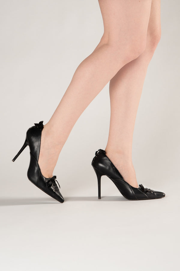 Milan Stiletto Heel Corset Lace Pumps in Black Faux Leather
