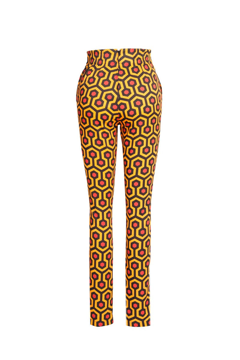Laura Byrnes Long Trousers in Red Hotel Printed Twill
