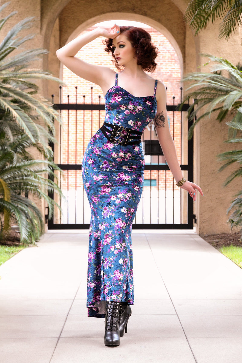 Traci Gown in Blue Floral Velvet with Removable Shrug by Traci Lords