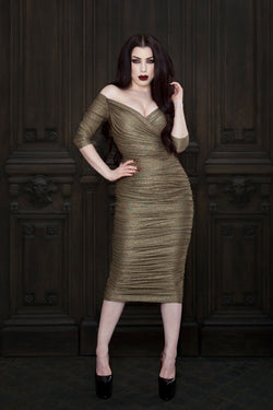 Laura Byrnes California Monica Wiggle Dress in Gold Lurex