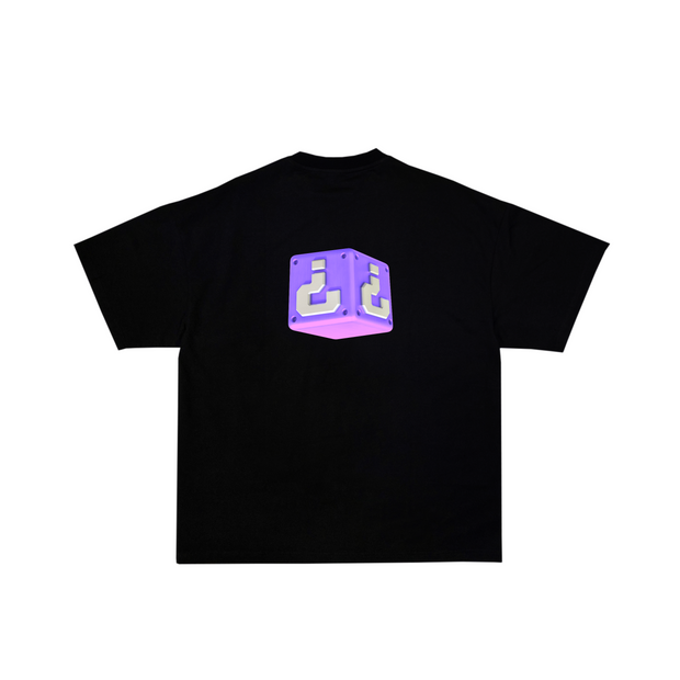 Questions Mystery Drop T-Shirt, Purple mystery box design at front on a black tee.