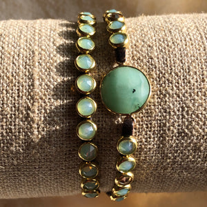 Chrysoprase leather wrap bracelet