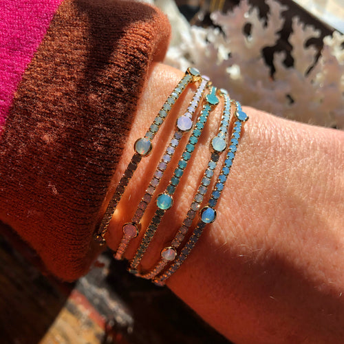 Opal Swarovski Dot Stacking Bracelets