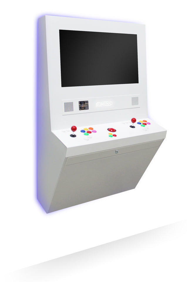 Polycade is a wall mounted arcade that plays modern and