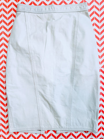 Vintage White Leather Pencil Skirt Size 24 Waist