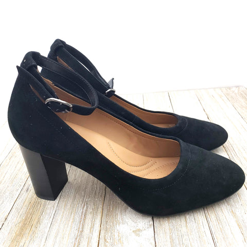 Clarks Chryssa Jana Pumps Black Suede Ankle Strap Chunky Heel Size 8