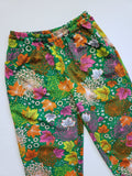 Vintage Polyester Leisure Pants Psychedelic Neon Foliage Print Size Small