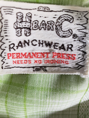 HBarC Ranch Wear Shirt Western Pearl Snap Button Front Vintage Top Size Medium