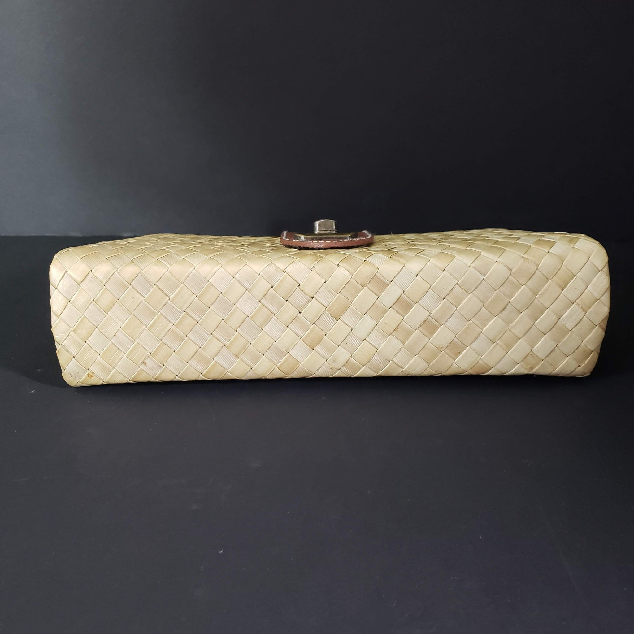 Aranaz Wicker Straw Clutch Bag Basketweave Woven