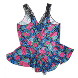 Vintage Satin Teddy Colesce Collection Romper Floral Lingerie Size 3X