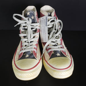 Converse High Top Sneakers Rummage Flag Chuck Taylor Shoes Unisex Size 8.5 Womens 7 Men