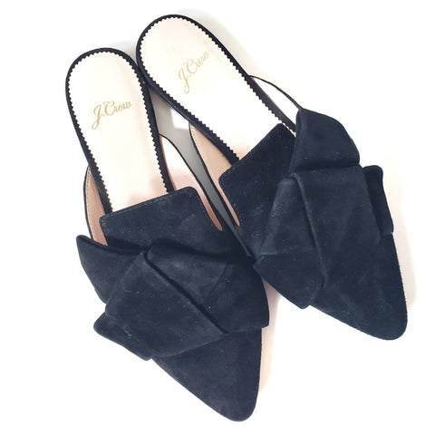 J Crew Pointed Toe Slides Bow Mules Suede Size 7