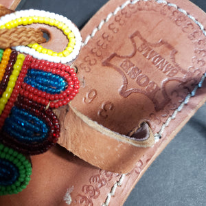 Kenyan Beaded Sandals African Beaded Leather Kids Size 36 4