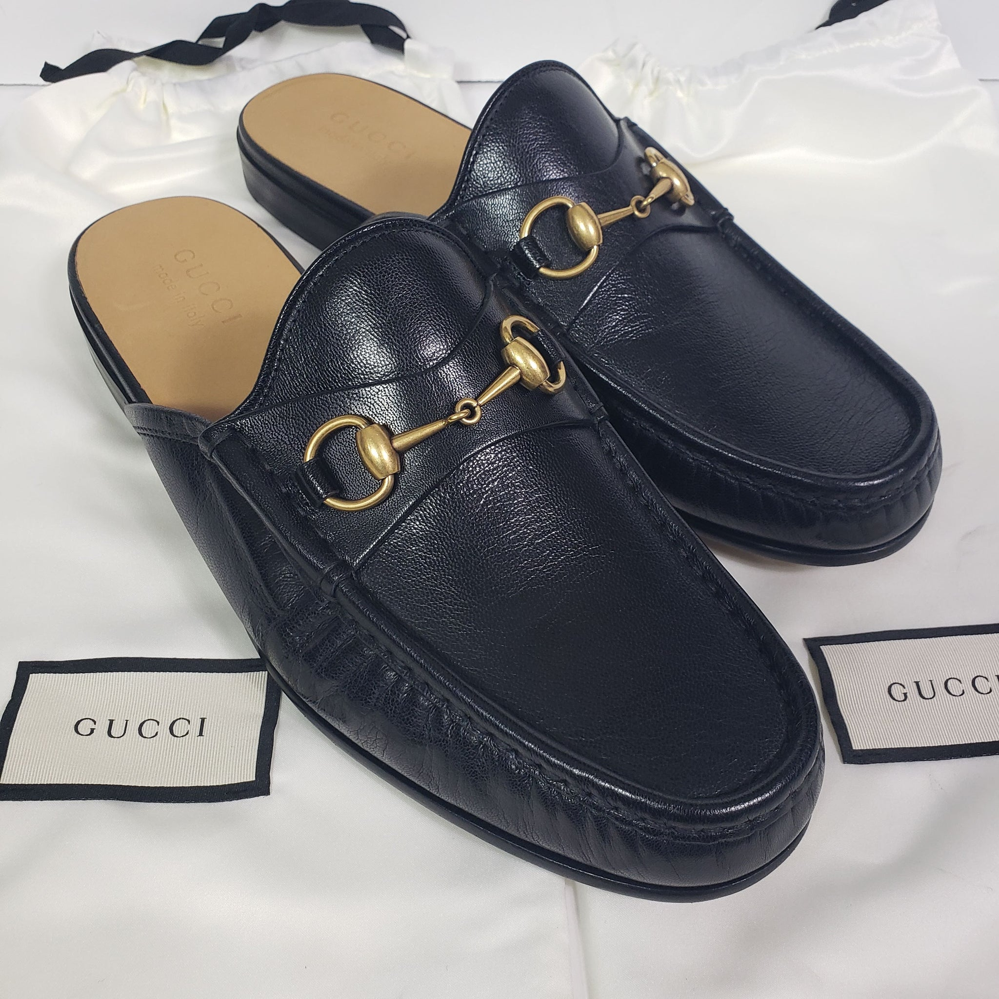 Gucci Open Roos Loafers Mules Black Size 11 Mens Shoes