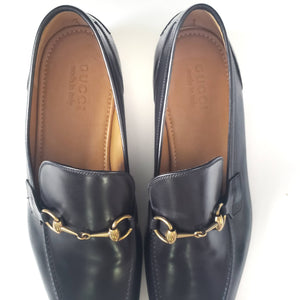 Gucci Jordaan Loafers Black Horsebit Size 12.5 Mens