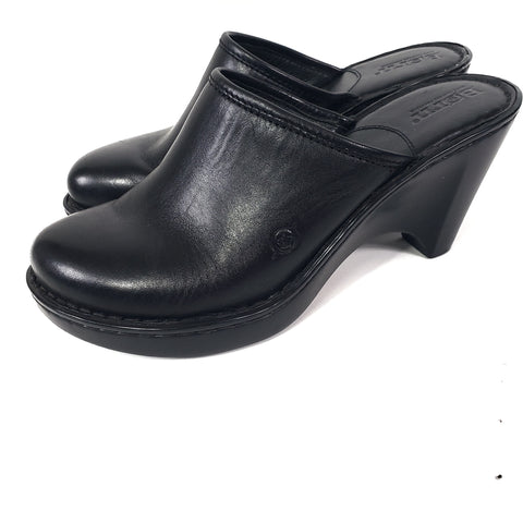 Born Leather Mules Platform Wedge Slip On Size 7