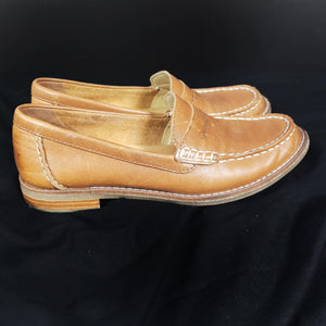 Sperry Penny Loafers Seaport Leather Tan Size 5.5