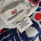 Vineyard Vines Dress Whale Tail Tile Print Embroidered Geometric Size 2