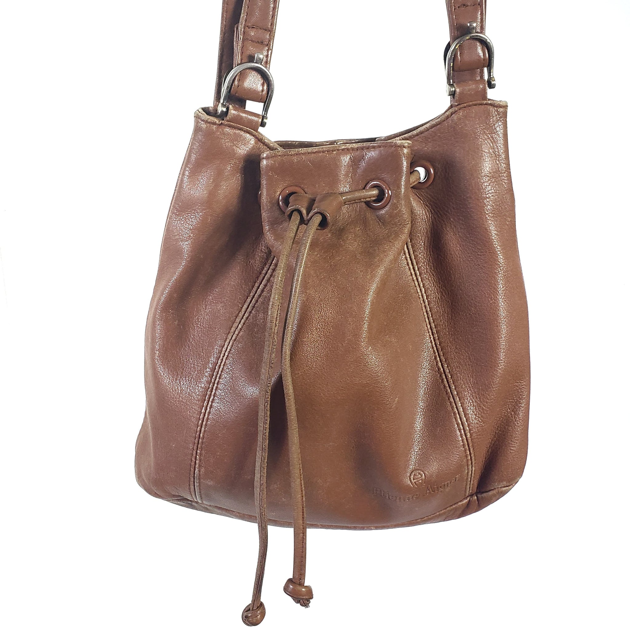 Vintage Etienne Aigner Leather Drawstring Bucket Bag