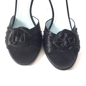 Tracy Reese Black Satin Mules Heels Slippers Size 37 7