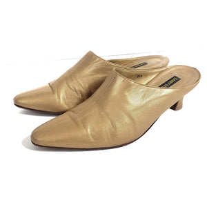 Vintage Gold Leather Mules Larry Stuart Size 8.5N