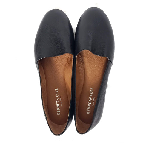 Kenneth Cole Black Flats Jayden Leather Slip On Shoes 8
