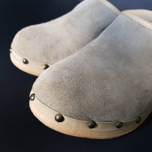 Vintage Wood Heel Clogs Suede Leather Made in Italy Size 6