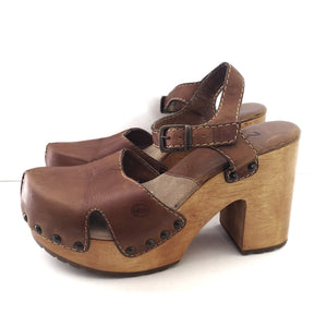 MIA Brown Leather Clogs Size 7