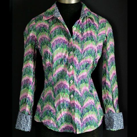 Lilly Pulitzer Jonni Shirt Button Down Multi Curves Its A Lilly Print Size 2