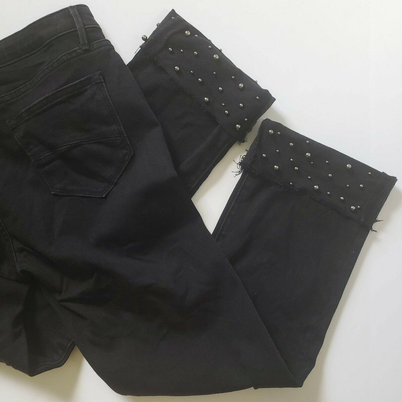 Driftwood Jeans Colette Embellished Raw Hem Black Denim Ankle Crop Size 31