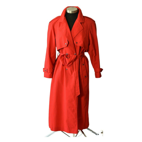 Fairweather Trench Coat Vintage Red Raincoat Belted Double Breasted Size Medium