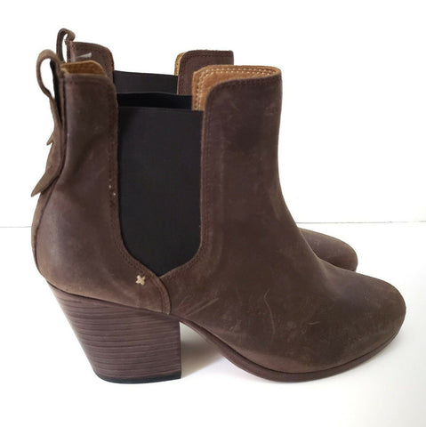 Rag & Bone Devon Boots Ankle Bootie Pull On Heel Brown Leather Size 39 8.5 8