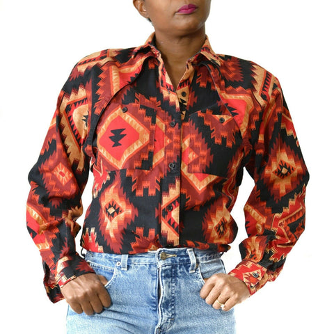 Roper Western Shirt Rodeo Aztec Navajo Southwestern Vintage Size Small Womens