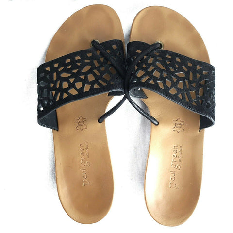 Paul Green Sandals Black Nubuck Leather Cutout Slides Slip On Size 8